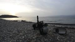 Motor discarded on a beach near Molyvos Stock Footage