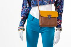 Short top with leather bag. Stock Photos