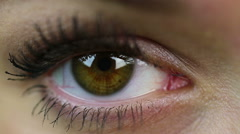 Eye extreme close-up. Makeup. Woman on reception at the oculist. Healthcare Stock Footage