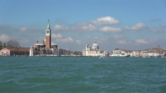 Views across the lagoon towards the Grand Canal, Venice Stock Footage