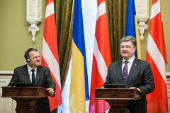 KIEV, UKRAINE - Apr 19, 2016: President of Ukraine Petro Poroshenko and Prime Mi - stock photo