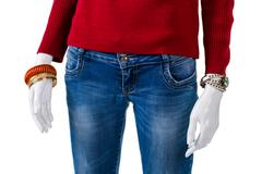 Sweatshirt with skinny fit jeans. - stock photo