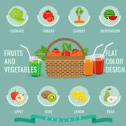 Organic Fruits and vegetables icons with solid flat color. Stock Illustration