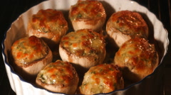 Cooking mushrooms in oven time lapse Stock Footage