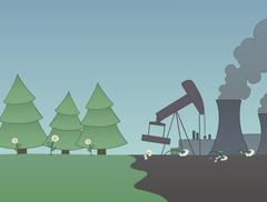 Industry versus nature - stock illustration