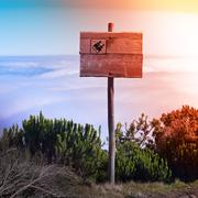 view of sky in the mountain at sundown - stock photo