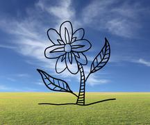 Hand drawn flower of Floriculture concept on natural background. - stock photo