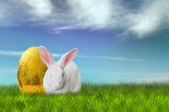 Easter bunny and golden egg Stock Photos