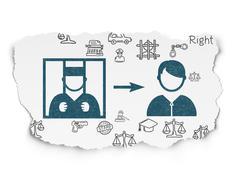 Law concept: Criminal Freed on Torn Paper background - stock illustration