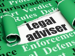 Law concept: black text Legal Adviser under the piece of  torn paper - stock illustration