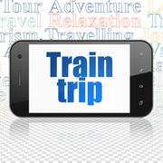 Travel concept: Smartphone with Train Trip on display - stock illustration