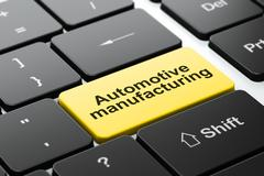 Manufacuring concept: Automotive Manufacturing on computer keyboard background - stock illustration
