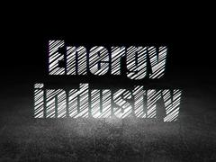 Industry concept: Energy Industry in grunge dark room - stock illustration