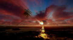 Beautiful sunrise over tropical island and ocean, godrays, tilt Stock Footage