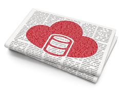 Programming concept: Database With Cloud on Newspaper background Stock Illustration
