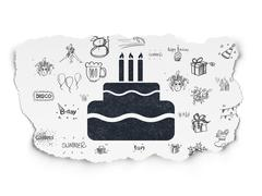 Entertainment, concept: Cake on Torn Paper background - stock illustration