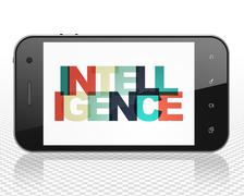 Education concept: Smartphone with Intelligence on  display - stock illustration