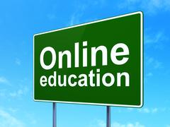 Education concept: Online Education on road sign background Stock Illustration