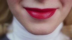 Emotional sexy lady smiling and enjoying life. Red lipstick. Perfect make-up Stock Footage
