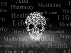 Health concept: Scull in grunge dark room Stock Illustration