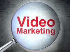 Marketing concept: Video Marketing with optical glass - stock illustration