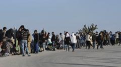 Refugee camp Oxy Molivos, Lesvos, Greece Stock Footage
