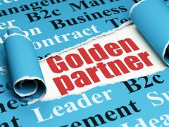 Finance concept: red text Golden Partner under the piece of  torn paper Stock Illustration