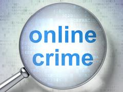 Protection concept: Online Crime with optical glass Stock Illustration