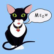 Isolated black cartoon green eyes  cat with Speech Balloon Stock Illustration