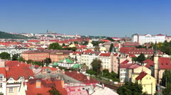 Prague, Czech Republic. Panorama of the old city from the embankment and bridges Stock Footage