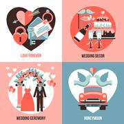 Wedding 2x2 Images Set Stock Illustration