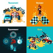 Offroad Concept Icons Set - stock illustration