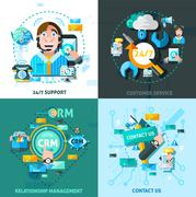 Customer Support Concept Icons Set - stock illustration