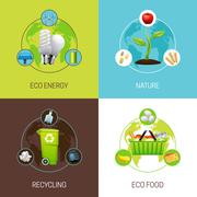Set Of Ecology Concept Illustrations Stock Illustration