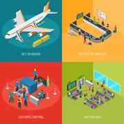 Airport 2x2 Images Concept Stock Illustration