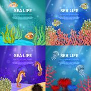 Underwater Landscape Set Stock Illustration