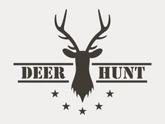 Deer hunt. Hunting club logo in vintage style. - stock illustration