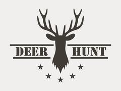 Deer hunt. Hunting club logo in vintage style. Stock Illustration