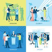 Pressman And Journalist Concept Icon Set Stock Illustration