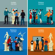 People In Museum And Gallery 2x2 Design Concept Stock Illustration