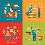 Obesity Concept Flat - stock illustration