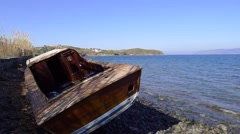 Shipwreck from refugees, Lesvos Greece Stock Footage