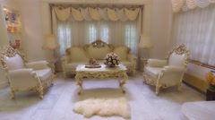 A grand indoor house interior tour with furniture and decorations in retro 4k Stock Footage