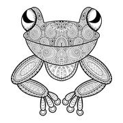 Vector zentangle frog for adult anti stress coloring page. Hand drawn artisti Stock Illustration