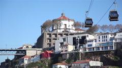 Portugal, Vila Nova de Gaia cable car view Stock Footage