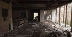 Picture like in a horror film. Steadicam shot at terrible abandoned building Stock Footage