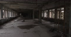 Picture like in a horror film. Steadicam shot at terrible abandoned school Stock Footage