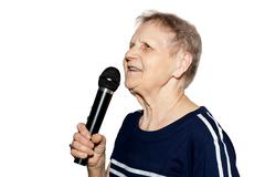 Grandmother on a white background Stock Photos