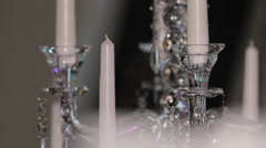 Crystal Candlestick with candles - stock footage