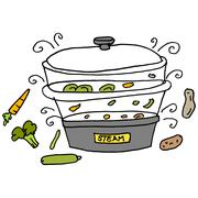 Steam machine cooker - stock illustration